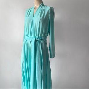 1970s Long Sleeve Teal V-neck Pleated Maxi Dress